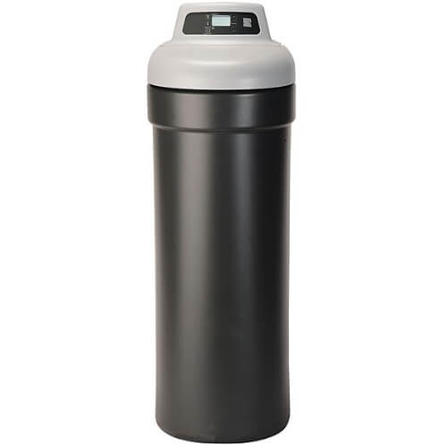 Front view of Kenmore 350 Water Softener with black base and grey top