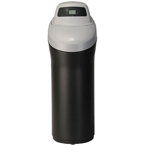 Front view of Kenmore 420 Softener with black base and grey top