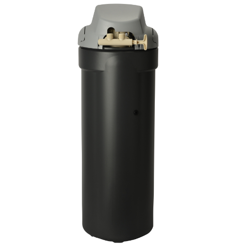Back view of Kenmore 350 Water Softener with black base and grey top