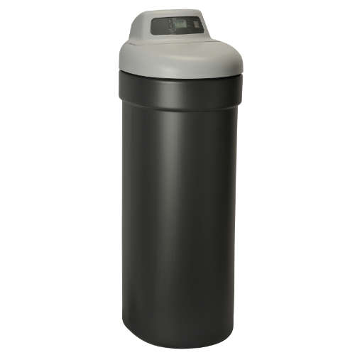 Left side view of Kenmore 350 Water Softener with black base and grey top