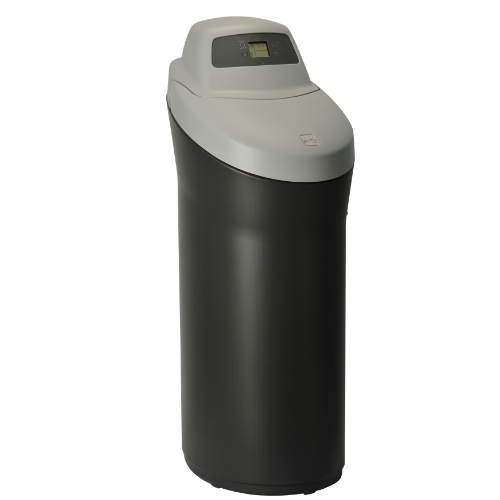 Side angle view of Kenmore 420 Softener with black base and grey top