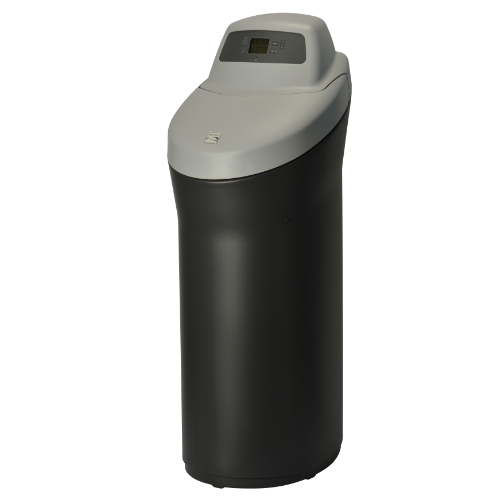 Right side angle view of Kenmore 420 Softener with black base and grey top