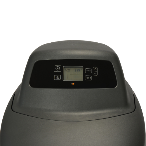 Close up of front interface on Kenmore Elite 520 Water Softener with black base and top