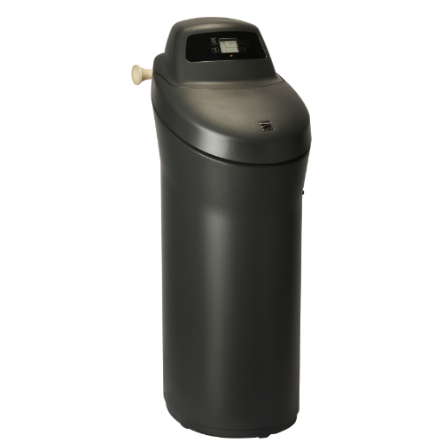 Side view of Kenmore Elite 520 Water Softener with black base and top